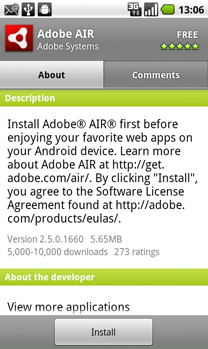 Adobe AIR for Android Install Screen