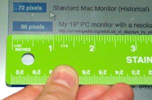 "Confirming that 86 pixels equals 1 inch on my 19"" (1280x1024) monitor"